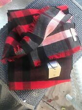 NWT Burberry military red reversible colour check wool scarf