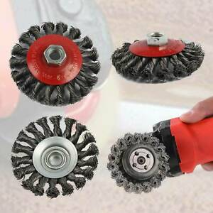 4 PIECE TWIST KNOT WIRE WHEEL CUP BRUSH SET KIT FOR 115mm ANGLE GRINDER NEW UK