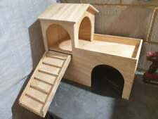 Rabbit House Castle Shelter two tiered Hideout Hideaway Hutch 60Wx50Hx30D cm