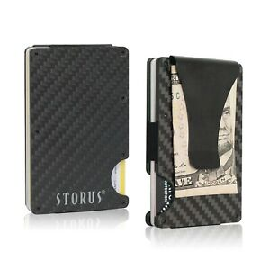 Storus Smart Wallet Money Clip RFID Carbon Fiber Slim Minimalist for Men Gift