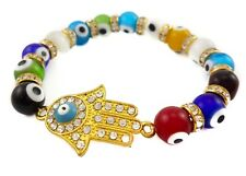 Gold Hamsa Hand Bracelet Evil Eye Colorful Agate Beads Jerusalem Luck Charm