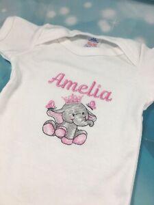 Personalised Baby Elephant Vest Girl