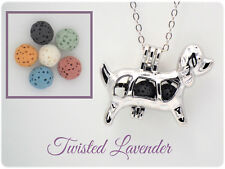 Dog Essential Oil Aromatherapy Diffuser Necklace Pendant with 6 lava stones!