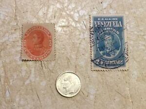 Venezuela Coin 25 Centimos Cent 1954 Silver Lei & 2 STAMPS 1901 UNC 1938 25C Lot