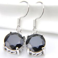 Awesome Woman Round Shaped 10 mm Black Onyx Gemstone Dangle Hook Earrings