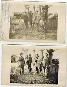 2 RPPC Real Photo Postcards Results of Deer Hunt Eleva Wisconsin