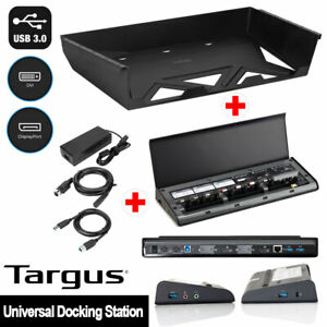 Targus Universal USB3.0 Docking Station ACP77 Cables Power Tip + Under Desk Tray