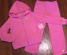 JUICY COUTURE BABY GIRLS BRAND NEW PINK 2Pc SET HOODED SPORT SUIT Sz 18-24M, NWT