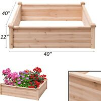 Garden Bed Wooden Large Planter Box Outdoor Plant Stand Flowers Vegetables 40 in