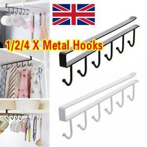 4x 6 Hooks Kitchen Metal Mug Cup Holder Under Shelf Hanger Cupboard Storage Rack
