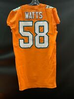 #58 BRANDON WATTS MIAMI DOLPHINS GAME USED TEAM ISSUED ORANGE COLOR RUSH JERSEY