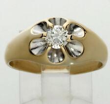 Diamond solitaire men's ring 14K 2 tone gold VS1 round European cut .50CT sz 10