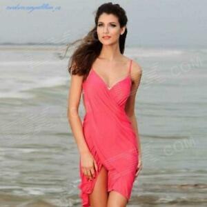 Women Beach Crossover Beach Wrap Pink Cover-up Sarong Size UK6-10