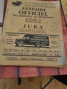 Annuaire Officiel Des Abonnés au Téléphone Jura 1962