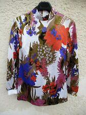 Haut vintage T-shirt années 70 motifs fleurs manches longues top L