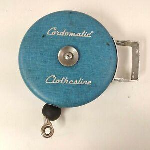 Vintage Cordomatic Automatic-Retraceable Clothesline Reel 20 Foot Blue