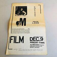 Vintage Movie Poster Jean Cocteau Blood Of A Poet, Fritz Lang M
