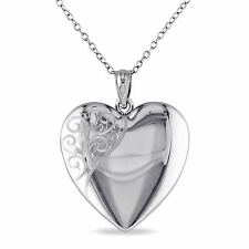 Amour Sterling Silver Heart Quadruple Locket Necklace