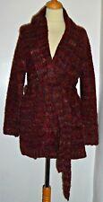 ELIZABETH SCOTT wine red bouclke knit long cardigan top  M/L