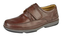 Roamers M037 Brown Leather Wide Fit Riptape Lightweight Shoes Swift Turn