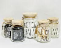 Rae Dunn By Magenta COTTON BALLS BOBBY PINS HAIR COTTON SWABS STASH Glass Holder