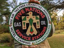 New ListingOld Vintage 1949 Five Nations Oil & Gas Service Stations Porcelain Gas Pump Sign