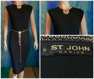 ST JOHN Basics Santana Knit Black Dress XL 14 12 Sleeveless Sheath LBD