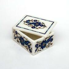 Marble ring Box handicraft semi precious stones lapis inlay art decor gift