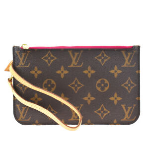 Auth LOUIS VUITTON Never Full Pouch Bag Monogram Leather Brown France 36BQ674