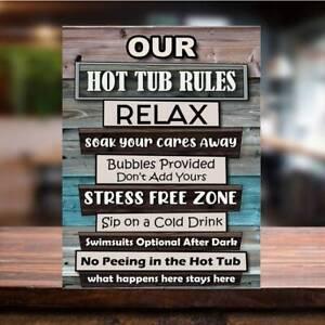 Funny Hot Tub Rules retro vintage metal sign man cave shed bar pub beer garden
