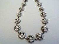 Vintage Silver Tone Ornate  Pearl Necklace