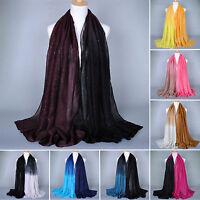 Women Muslim Gradient Glitter Voile Long Hijab Scarf Shawl Wrap Pashmina Stole