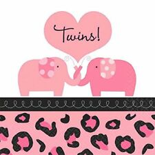 36 SWEET SAFARI TWINS Pink Girl beverage SMALL NAPKINS BABY SHOWER Party Supply