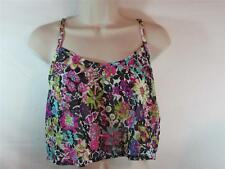 NWT  Island Soul Sleeveless Cover-Up Top Sheer w/ Bright Floral Print Size Large