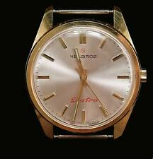 "Rare Mens HELBROS Early Quartz ""Red Electric on Dial"" Classic, 222"
