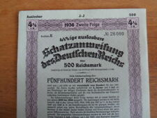 1936 Nazi German Treasury Bond-500 Reichsmark Bond-Swastika Seal