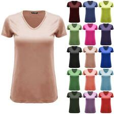 Womens Ladies Plain Baggy V Neck Casual Baggy Cap Sleeve Stretchy Basic T Shirt