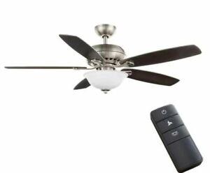 "H B Southwind II 52"" LED Indoor Brushed Nickel Ceiling Fan w/ Light & Remote"