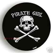 SPARE TIRE COVER 29''-31'' Pirate Girl Skull white on passport black dw498623p