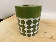Set of 4 Vintage Avocado Green Polka Dot  Metal Kitchen Canisters Japan 1960's