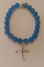 Bue Agate Bead Bracelet Sterling Silver Dragonfly Charm