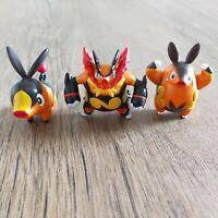 TOMY Tepig Pignite & Emboar 3 NINTENDO Tomy Pokemon Figure Toys vtg Bundle