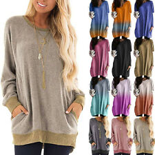 Womens Baggy Long Sleeve Sweatshirt Gradient Jumpers Pullover Sweater Tunic Tops