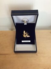 Bee Brooch with Swarovski Crystals, Black Enamel & Gold Plated Finish - BNIB