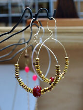 14K Gold Filled Red Agate and Vermeil Gold Hoops