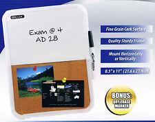 Dry Erase White Board & Cork Board Combo Pad w/Dry Erase Marker Wall Mountable