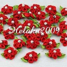 60pcs red satin ribbon beaded flower with leaf appliques