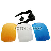 3 Color Puffer Pop-Up Flash Soft Diffuser For Canon Nikon Pentax Camera DSLR SLR