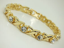 Womens Gold Colour Magnetic Bracelet With Clear Gem Stones Gift Pouch Arthritis