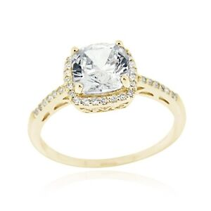 18K Gold over 925 Silver CZ Square Bridal Engagement Ring Size 10